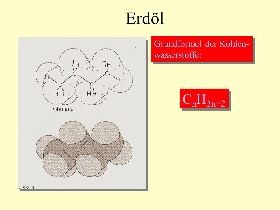 Erdöl Grundformel der Kohlen- wasserstoffe: CnH2n+2