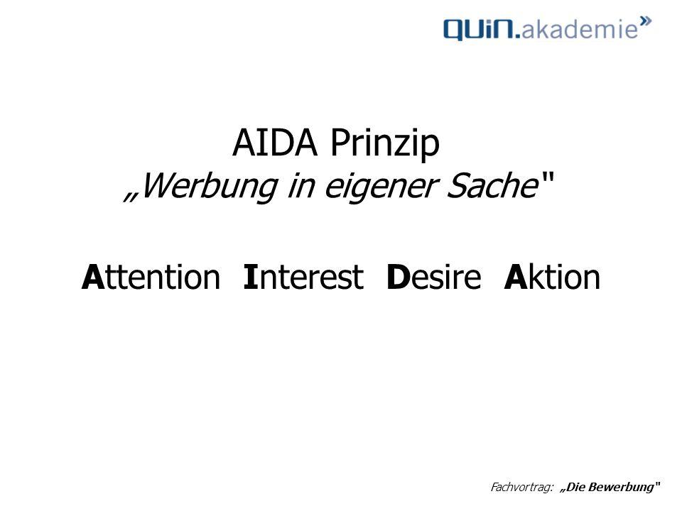"""AIDA Prinzip """"Werbung in eigener Sache"""