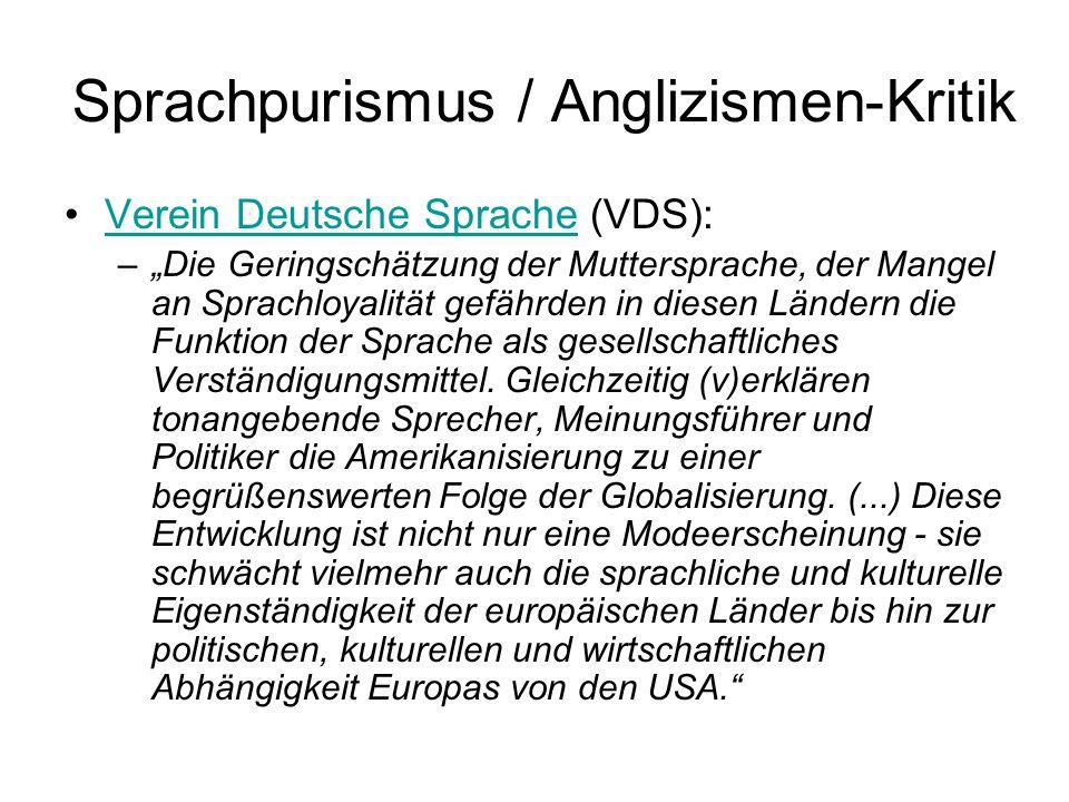 Sprachpurismus / Anglizismen-Kritik