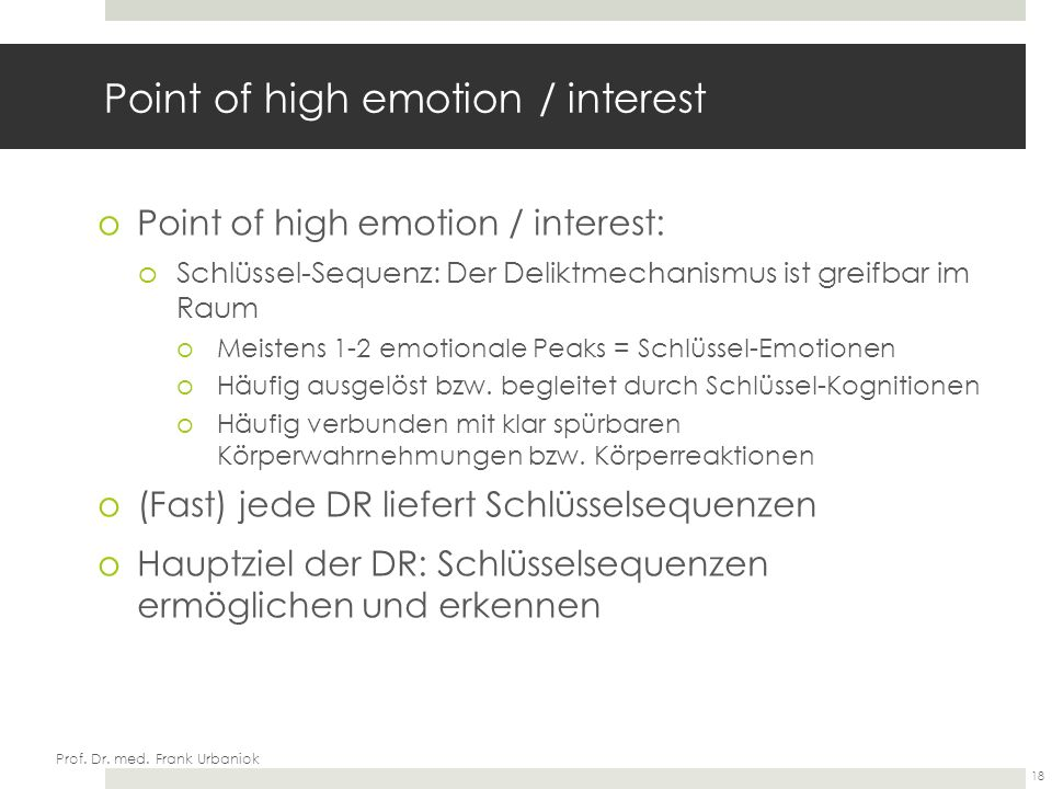 Point of high emotion / interest