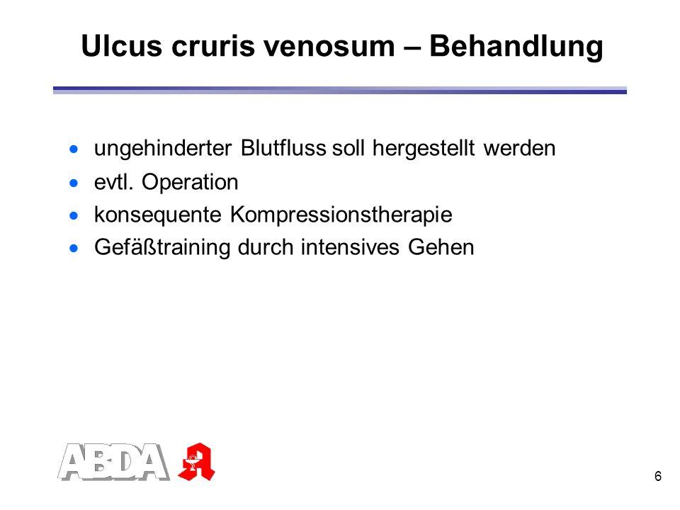 Ulcus cruris venosum – Behandlung