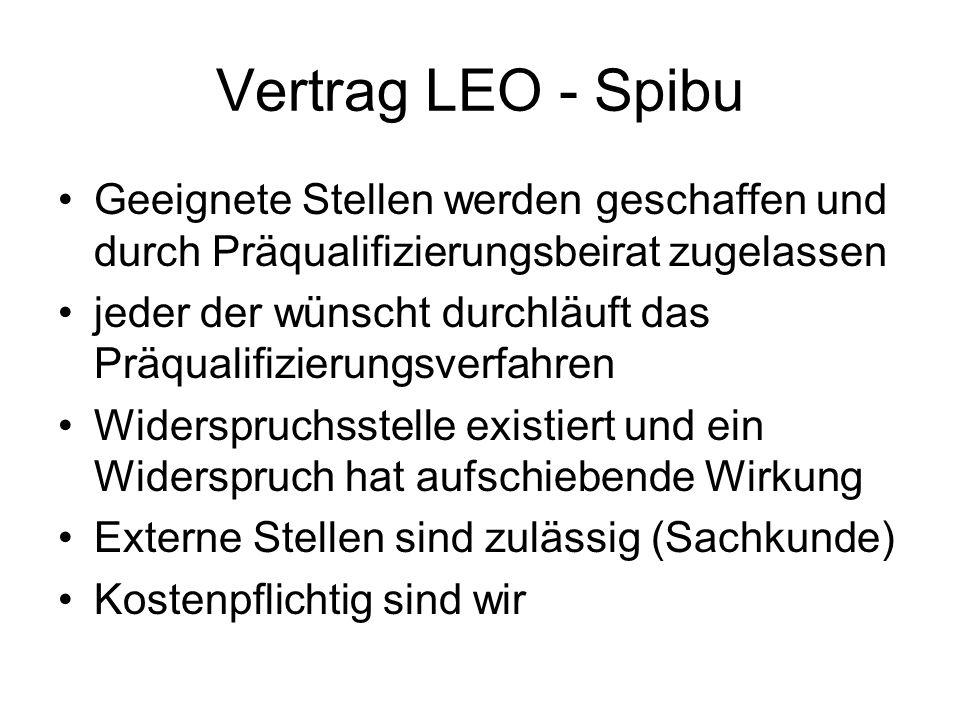 Vertrag LEO - Spibu Geeignete Stellen werden geschaffen und durch Präqualifizierungsbeirat zugelassen.