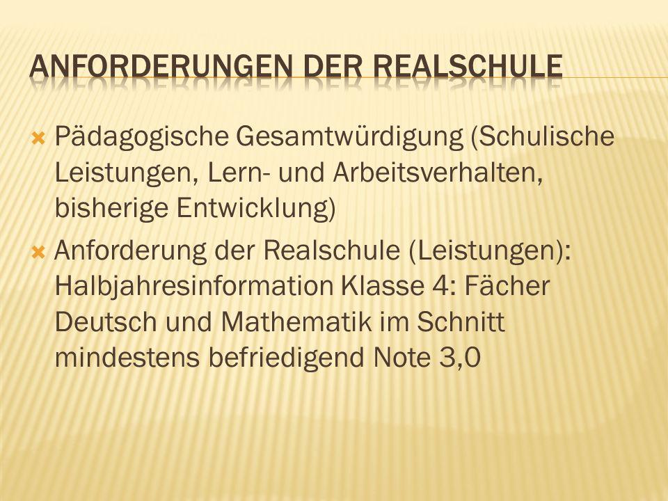 Anforderungen der Realschule