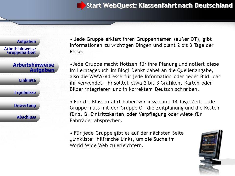 Start WebQuest: Klassenfahrt nach Deutschland