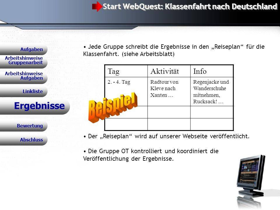 Beispiel Ergebnisse Start WebQuest: Klassenfahrt nach Deutschland