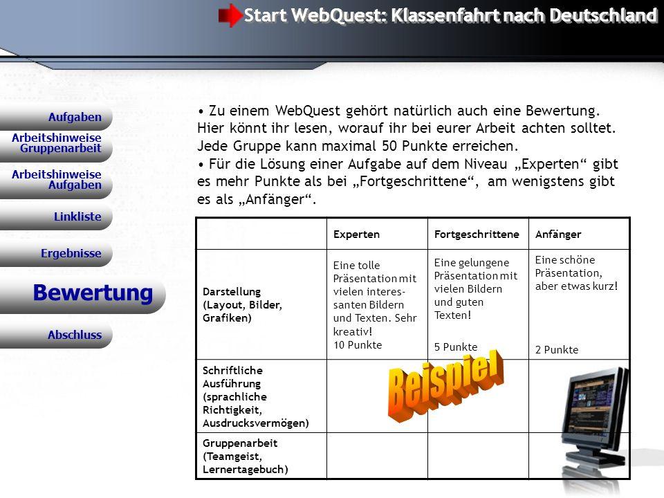 Beispiel Bewertung Start WebQuest: Klassenfahrt nach Deutschland