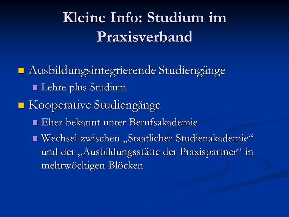 Kleine Info: Studium im Praxisverband