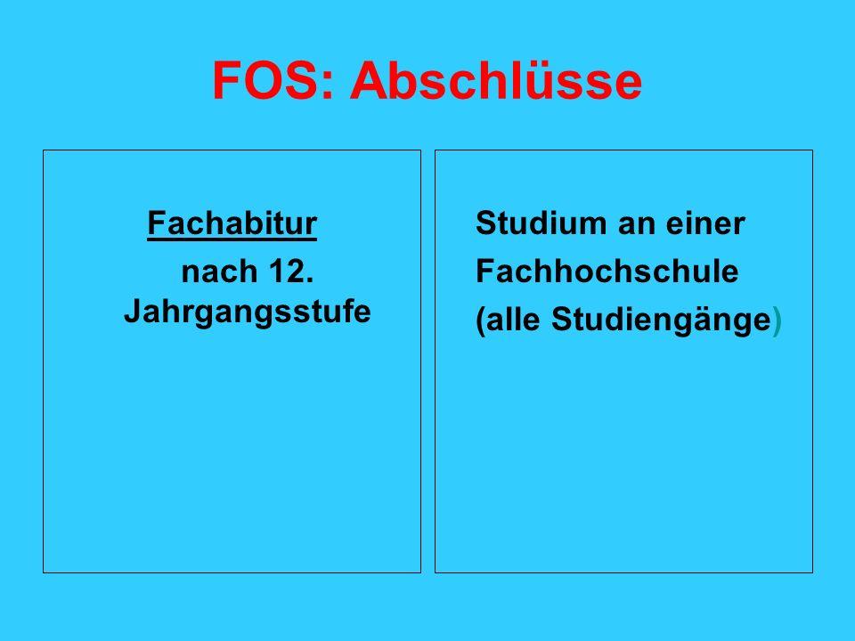 FOS: Abschlüsse Fachabitur nach 12. Jahrgangsstufe Studium an einer