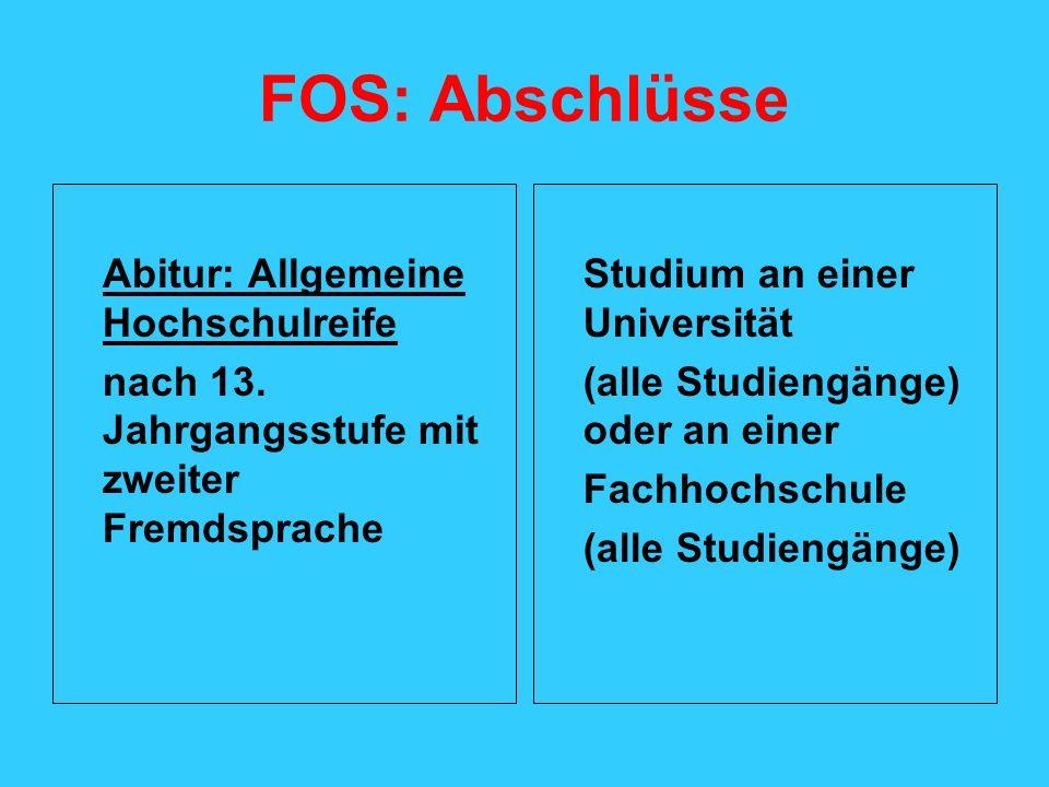 FOS: Abschlüsse Abitur: Allgemeine Hochschulreife