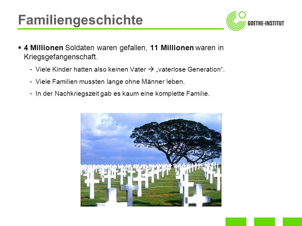 Familiengeschichte 4 Millionen Soldaten waren gefallen, 11 Millionen waren in Kriegsgefangenschaft.