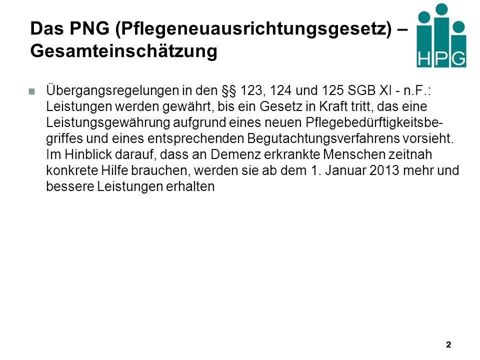 Das PNG (Pflegeneuausrichtungsgesetz) – Gesamteinschätzung