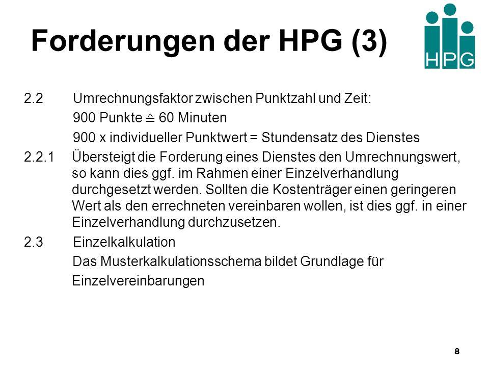 Forderungen der HPG (3) 2.2 Umrechnungsfaktor zwischen Punktzahl und Zeit: 900 Punkte ≙ 60 Minuten.