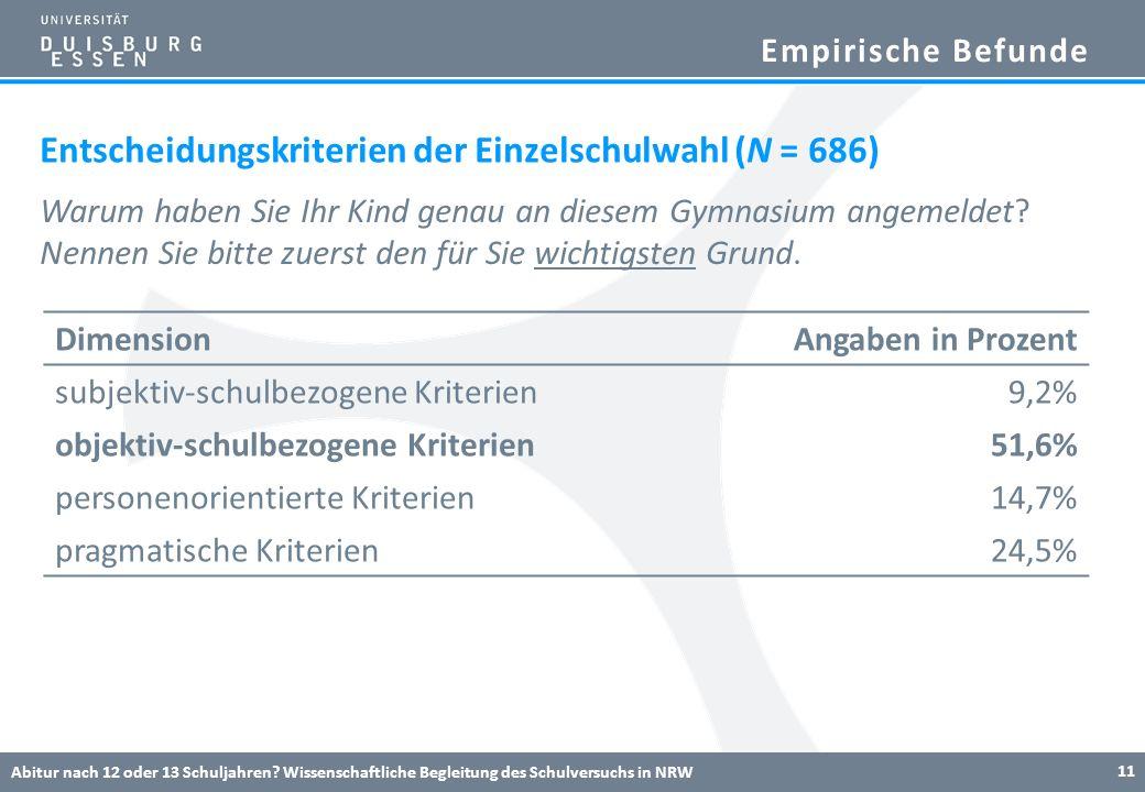 Entscheidungskriterien der Einzelschulwahl (N = 686)