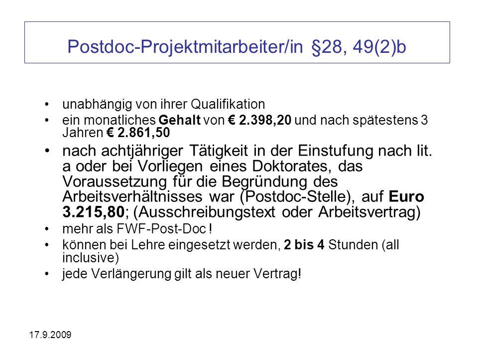 Postdoc-Projektmitarbeiter/in §28, 49(2)b
