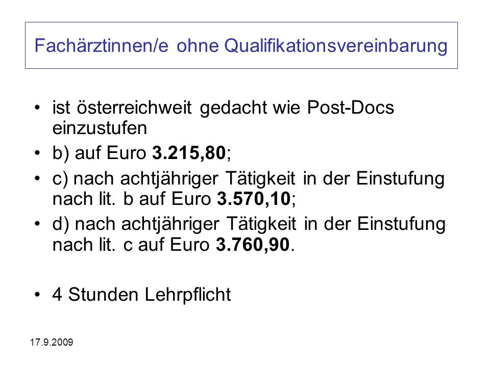 Fachärztinnen/e ohne Qualifikationsvereinbarung