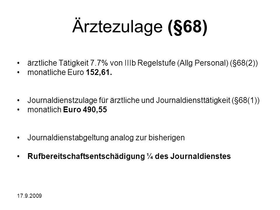 Ärztezulage (§68) ärztliche Tätigkeit 7.7% von IIIb Regelstufe (Allg Personal) (§68(2)) monatliche Euro 152,61.