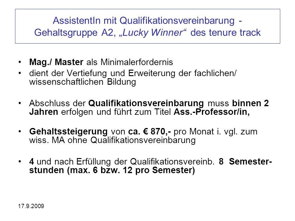 """AssistentIn mit Qualifikationsvereinbarung - Gehaltsgruppe A2, """"Lucky Winner des tenure track"""