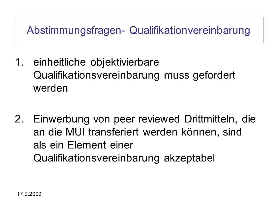 Abstimmungsfragen- Qualifikationvereinbarung