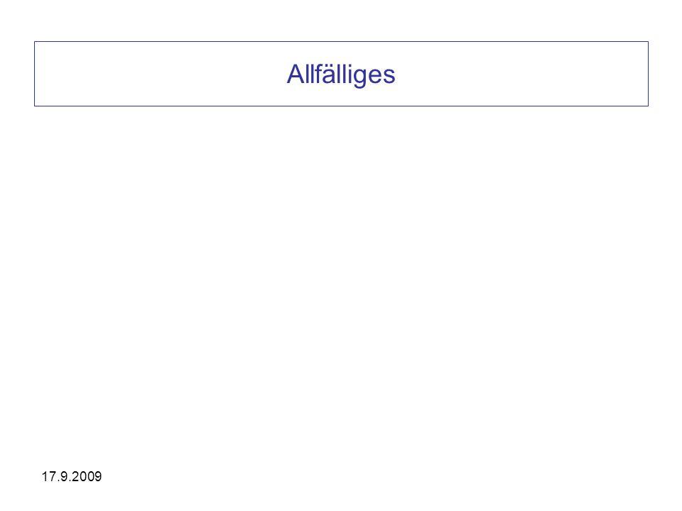 Allfälliges 17.9.2009