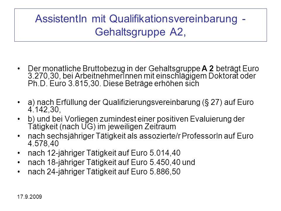 AssistentIn mit Qualifikationsvereinbarung - Gehaltsgruppe A2,