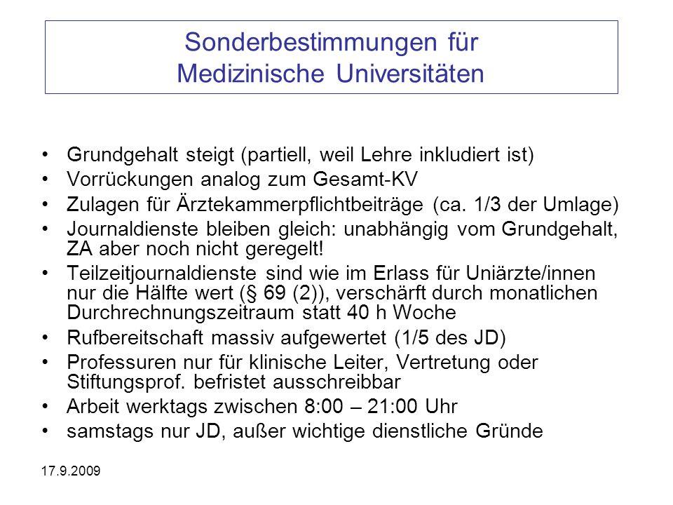 Sonderbestimmungen für Medizinische Universitäten
