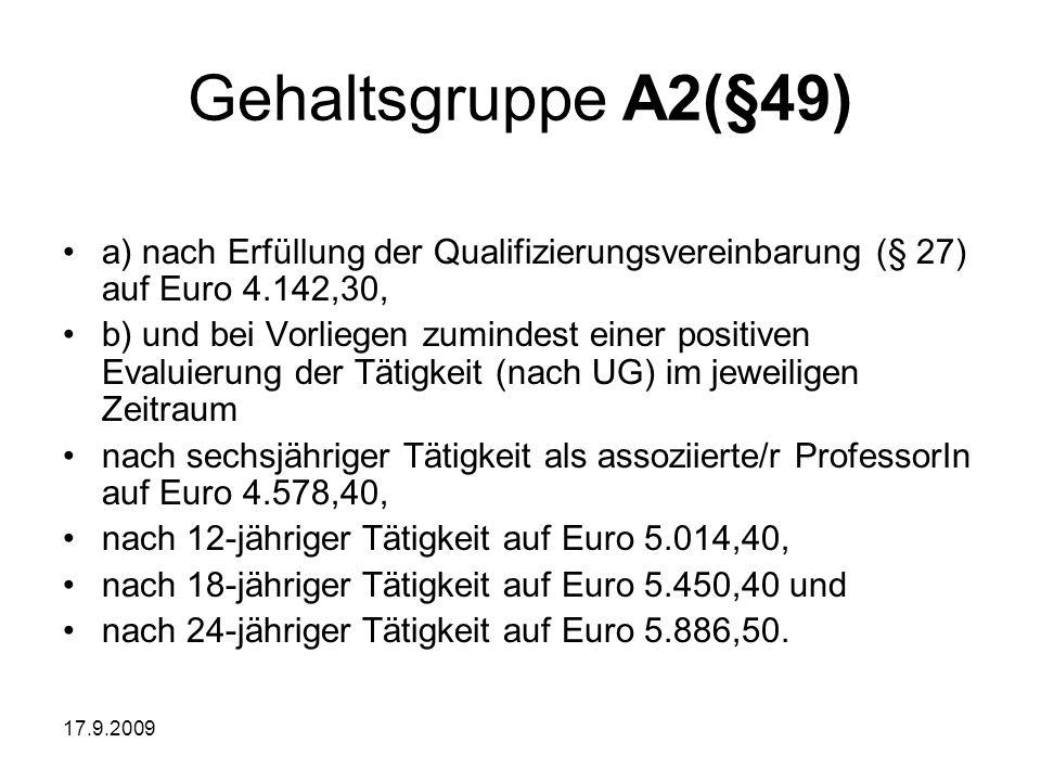 Gehaltsgruppe A2(§49) a) nach Erfüllung der Qualifizierungsvereinbarung (§ 27) auf Euro 4.142,30,