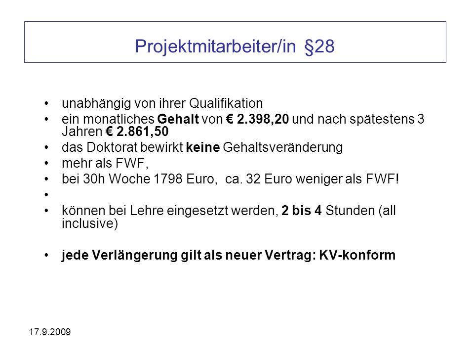 Projektmitarbeiter/in §28