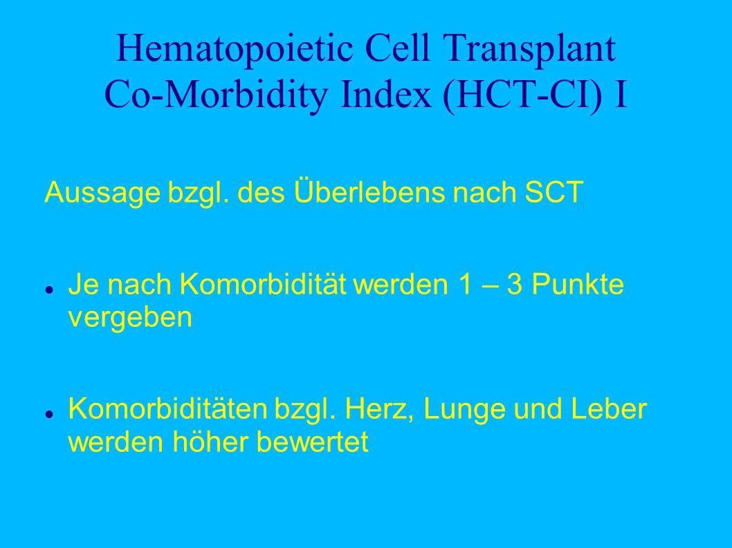 Hematopoietic Cell Transplant Co-Morbidity Index (HCT-CI) I