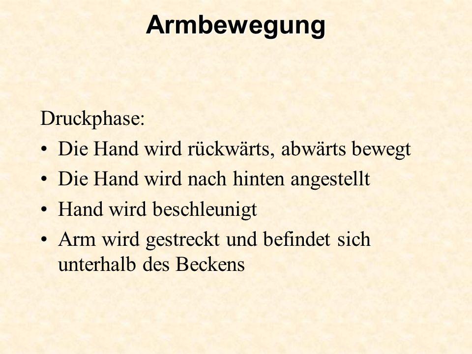 Armbewegung Druckphase: Die Hand wird rückwärts, abwärts bewegt