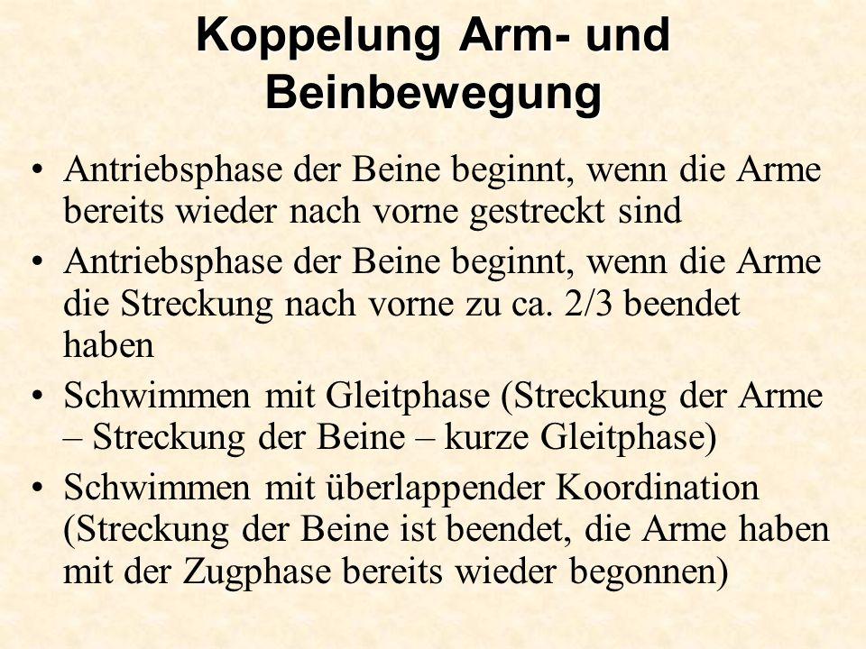 Koppelung Arm- und Beinbewegung