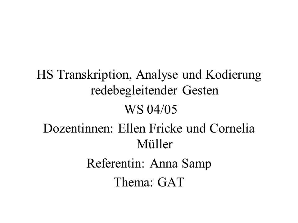 HS Transkription, Analyse und Kodierung redebegleitender Gesten