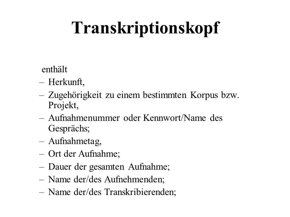 Transkriptionskopf enthält Herkunft,