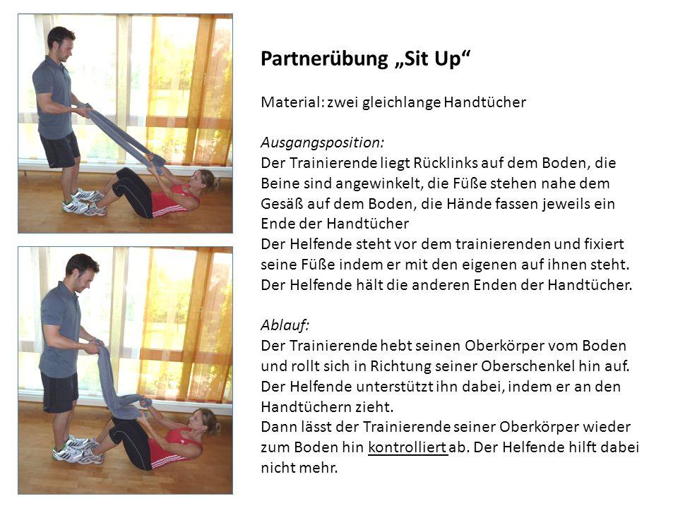 """Partnerübung """"Sit Up Material: zwei gleichlange Handtücher"""