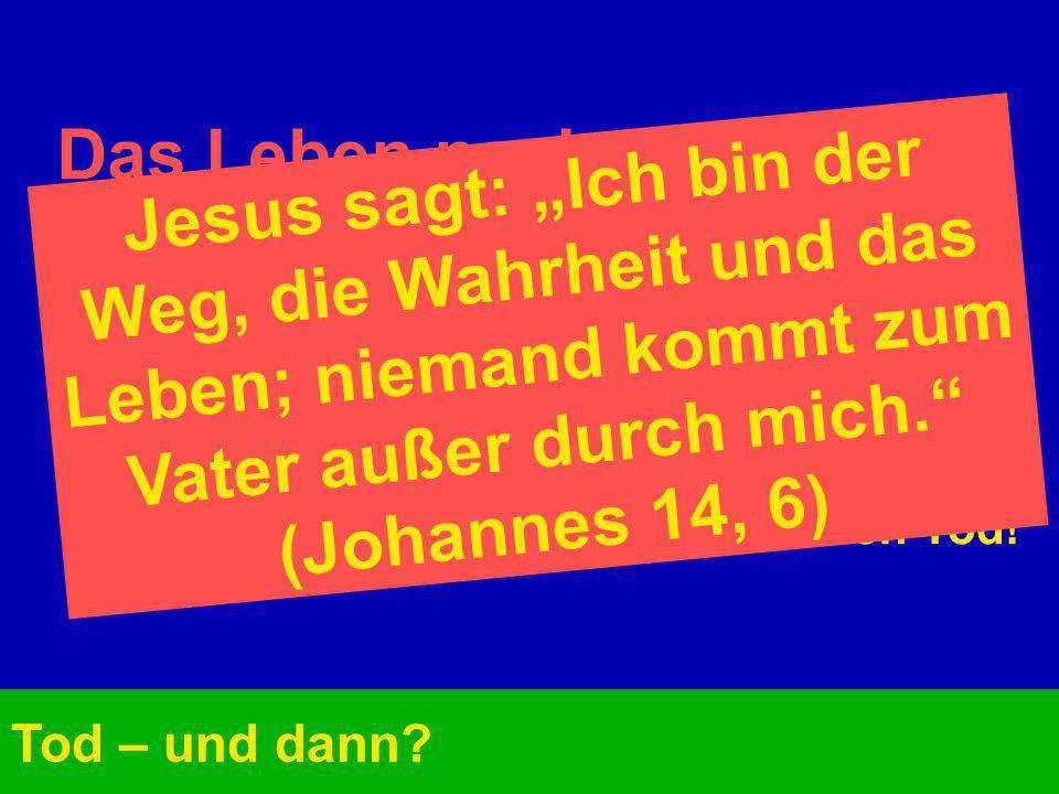 """Das Leben nach dem Tod:Jesus sagt: """"Ich bin der Weg, die Wahrheit und das Leben; niemand kommt zum Vater außer durch mich. (Johannes 14, 6)"""