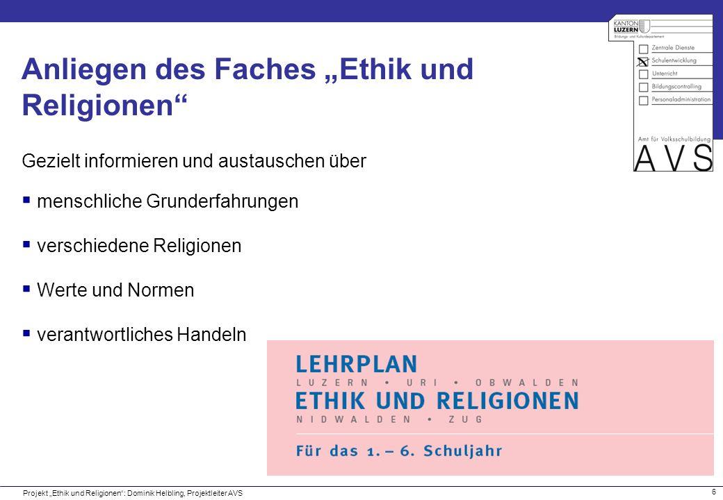 """Anliegen des Faches """"Ethik und Religionen"""