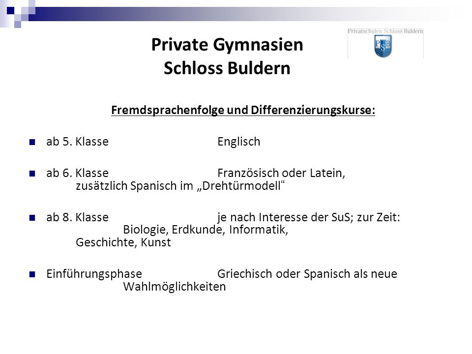 Private Gymnasien Schloss Buldern