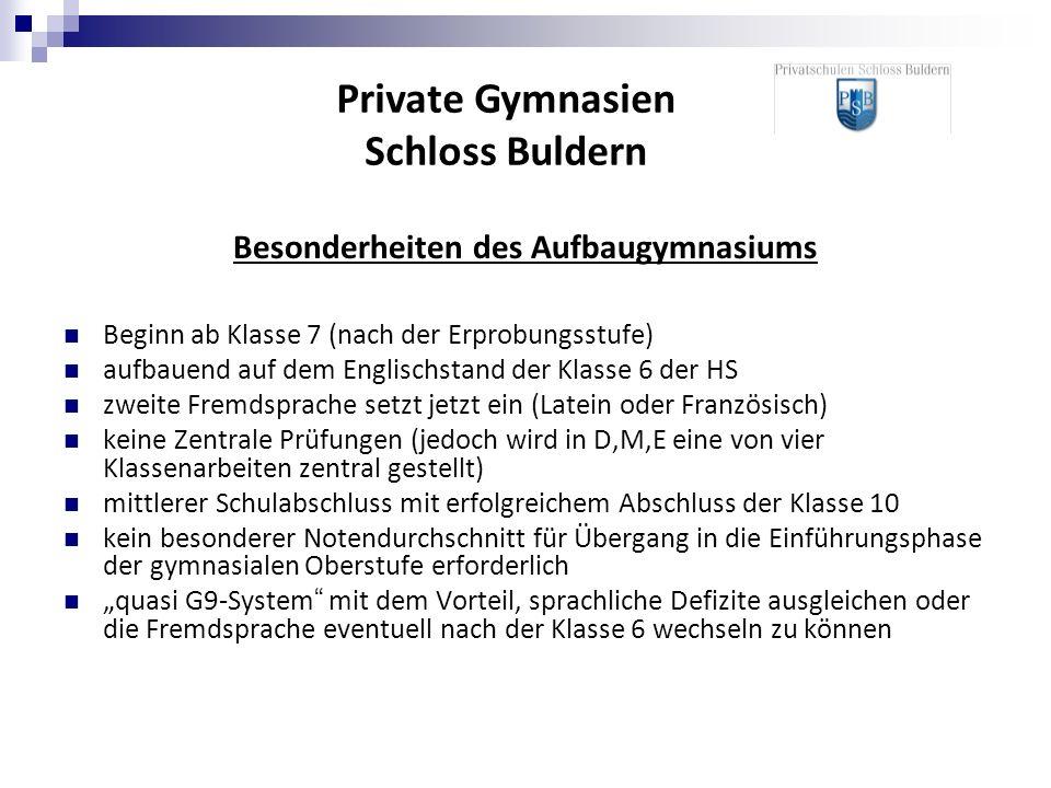 Private Gymnasien Schloss Buldern Besonderheiten des Aufbaugymnasiums