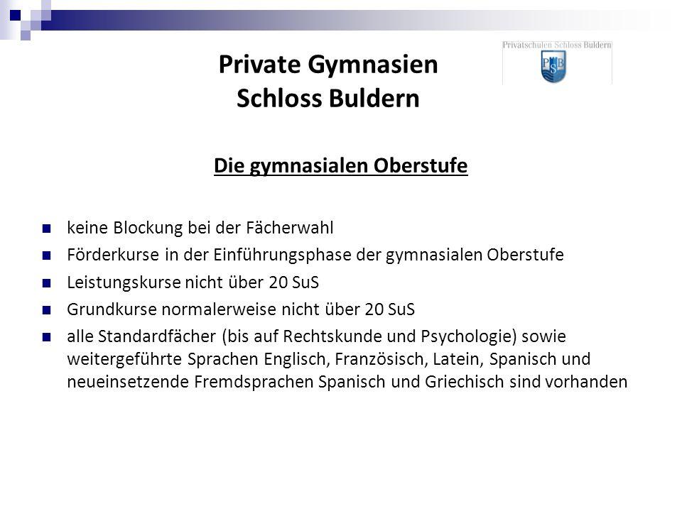 Private Gymnasien Schloss Buldern Die gymnasialen Oberstufe