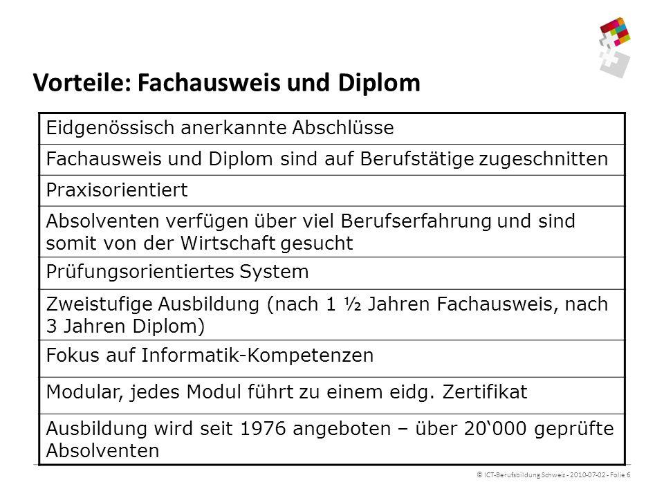 Vorteile: Fachausweis und Diplom
