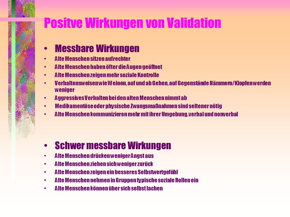 Positve Wirkungen von Validation