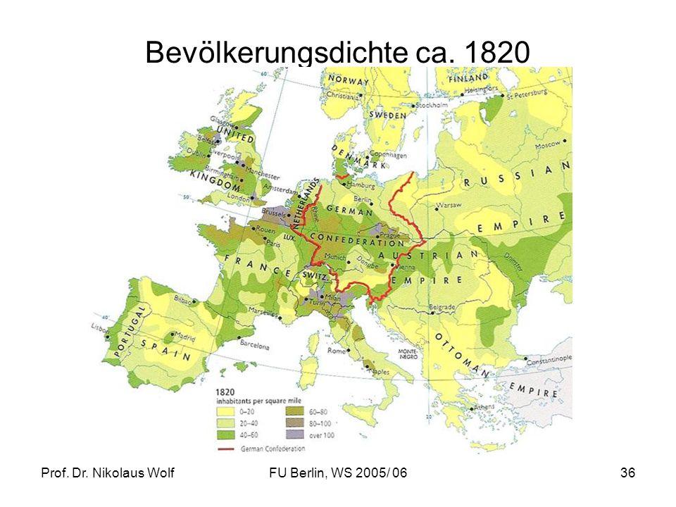 Bevölkerungsdichte ca. 1820