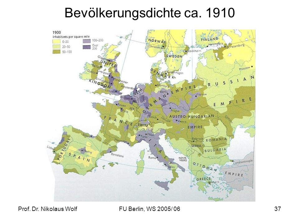 Bevölkerungsdichte ca. 1910