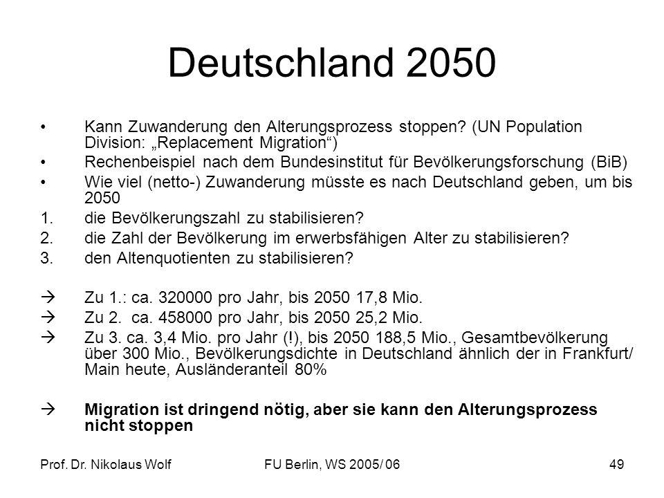 """Deutschland 2050 Kann Zuwanderung den Alterungsprozess stoppen (UN Population Division: """"Replacement Migration )"""