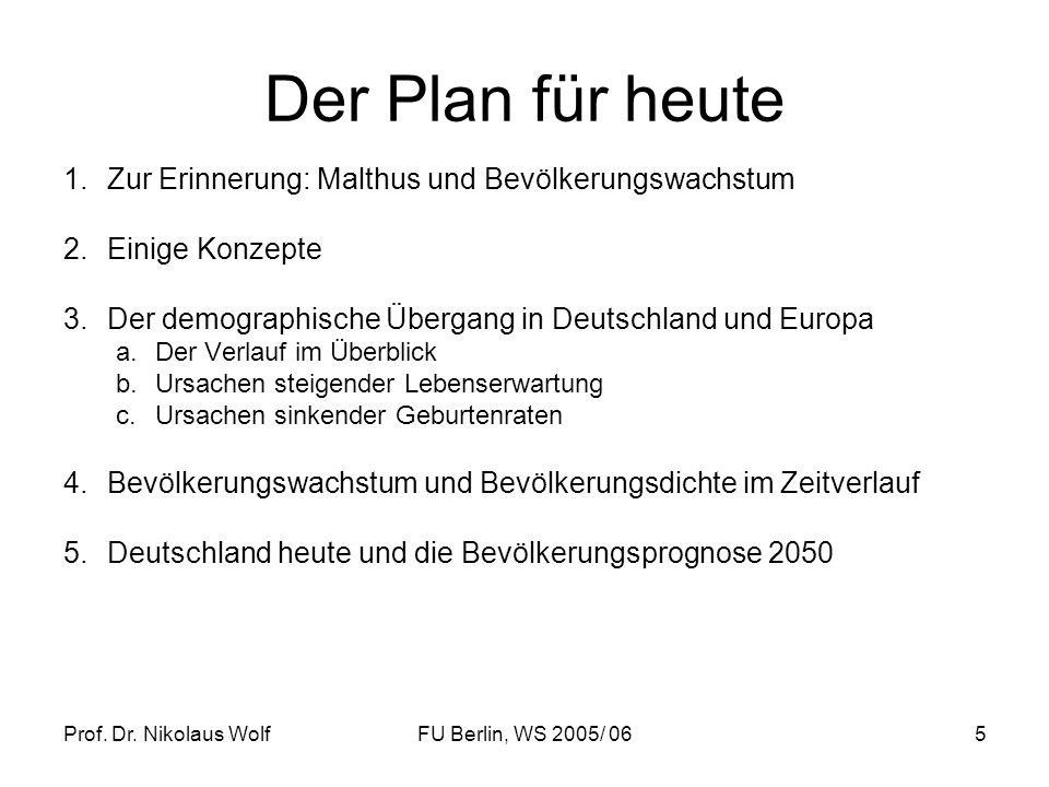 Der Plan für heute Zur Erinnerung: Malthus und Bevölkerungswachstum