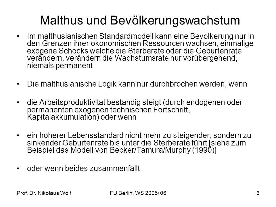 Malthus und Bevölkerungswachstum