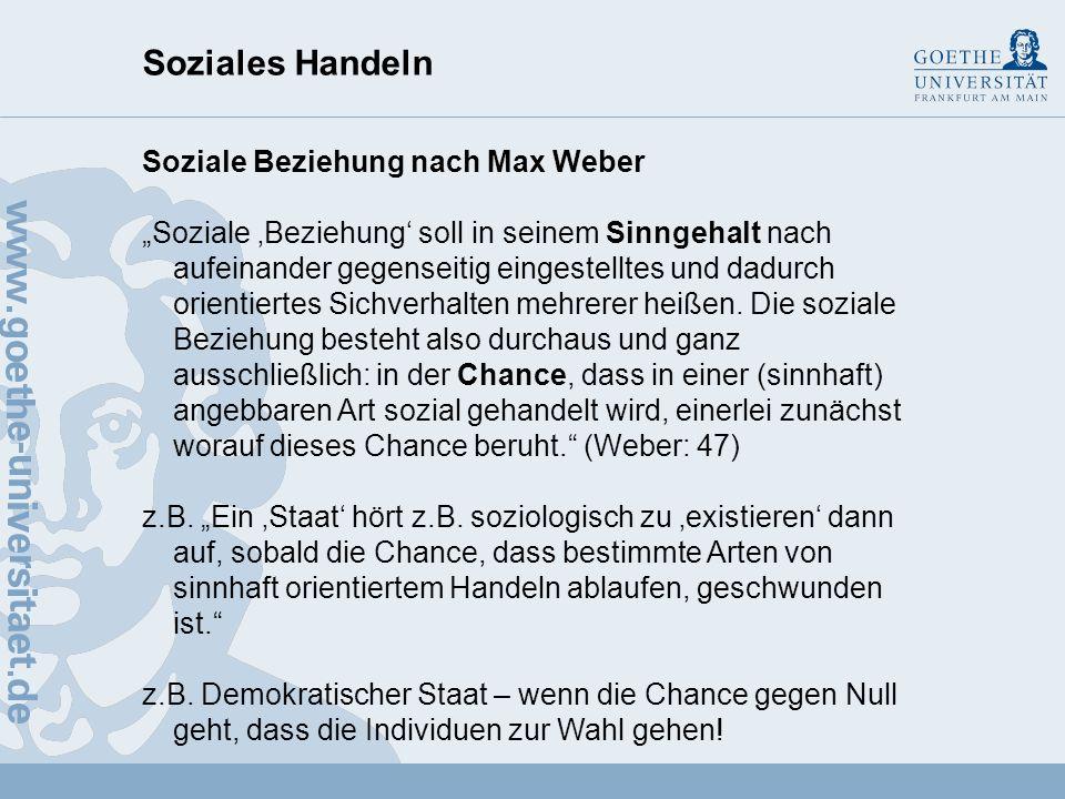 Soziales Handeln Soziale Beziehung nach Max Weber