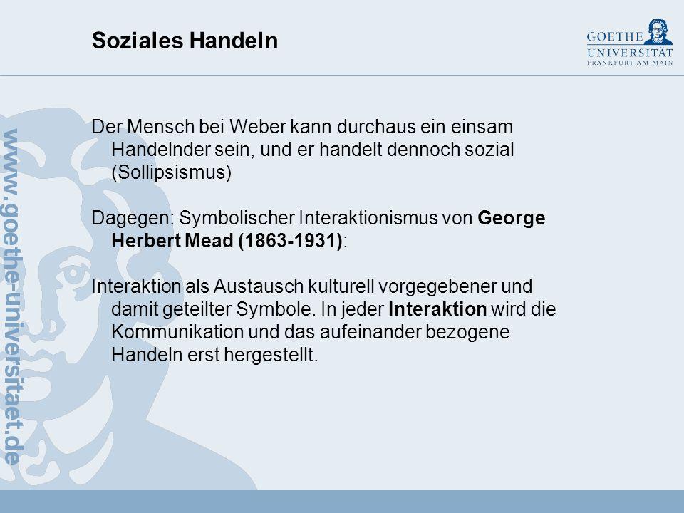 Soziales Handeln Der Mensch bei Weber kann durchaus ein einsam Handelnder sein, und er handelt dennoch sozial (Sollipsismus)