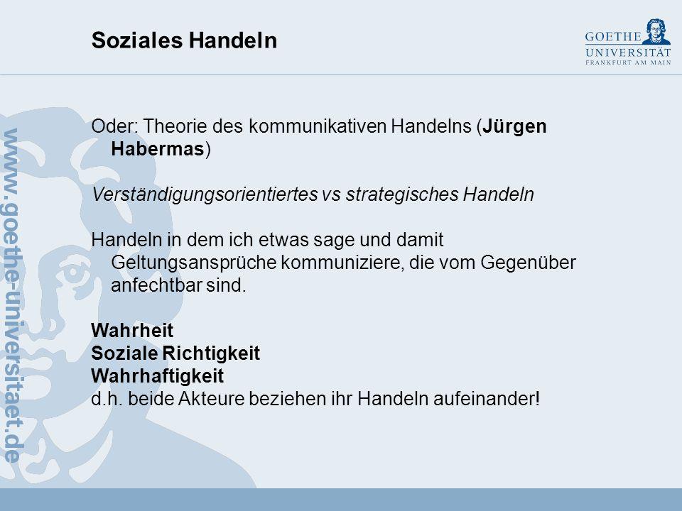 Soziales Handeln Oder: Theorie des kommunikativen Handelns (Jürgen Habermas) Verständigungsorientiertes vs strategisches Handeln.