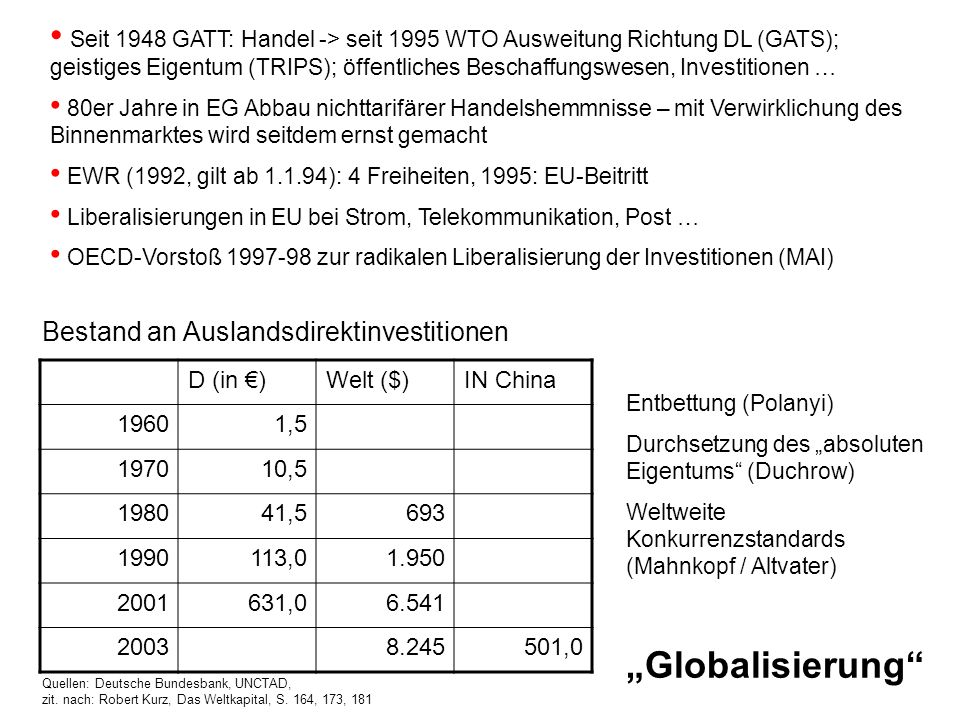 Seit 1948 GATT: Handel -> seit 1995 WTO Ausweitung Richtung DL (GATS); geistiges Eigentum (TRIPS); öffentliches Beschaffungswesen, Investitionen …