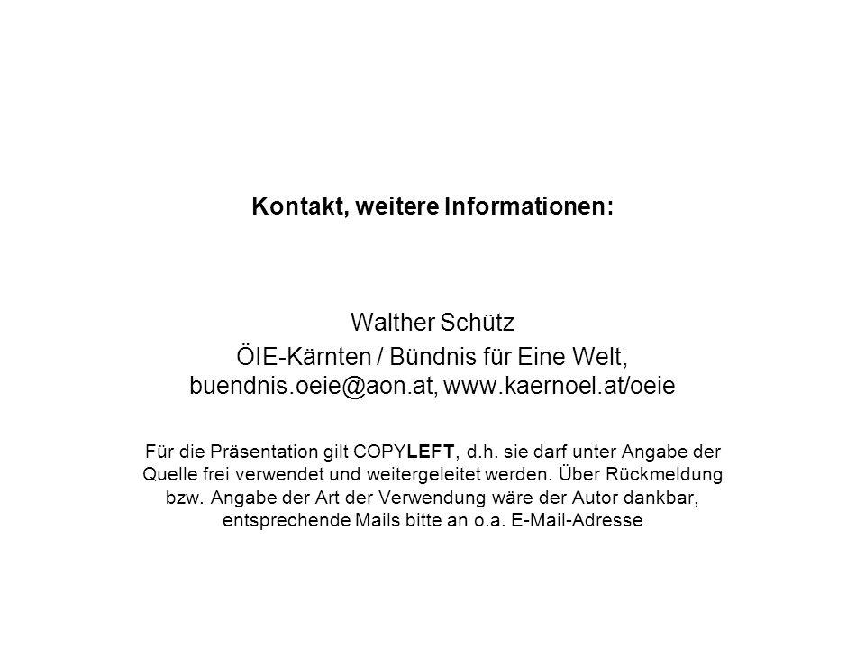 Kontakt, weitere Informationen: